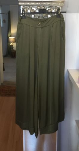 Italian Plain Wide Leg Silk Trousers - Olive Green